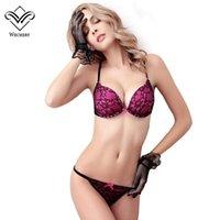 Bra Sets sexy underwire Wechery Lace Bra Set Underwear Set Women Bralette Lingerie Sexy Bra & Brief Sets Charming Push Up Bras Pink Purple