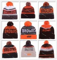 Wholesale Hot Sale Football Browns Beanies Cheap Pom Beanies High Quality Sports Beanie Hats Brand Knitted Skull Caps all Football Teams Beanies