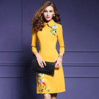 animal print skirt - Office Dress New Winter Fashion Dolls of Cultivate One s Morality Brought Nine Points In Long Sleeve Embroidery Dress A line Skirt