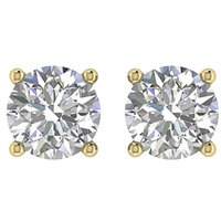 boucles d'oreilles en diamant en or jaune 14kt achat en gros de-1.01Ct Solitaire Studs Boucles d'oreilles Round Cut Diamond In Screw Back 14Kt Yellow Gold
