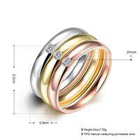 3 PCS / Set Zircon 316L Anneaux De Mariage En Acier Inoxydable Pour Les Femmes Or Plaqué Titane Cristal Engagement Finger Rings Femme 2016