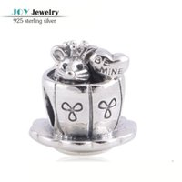 antique sterling silver cup - Sterling Silver Small Mouse in the Coffee Cup Charms Fit European Brand Bracelets Antique Silver Charm Diy Fine Jewelry