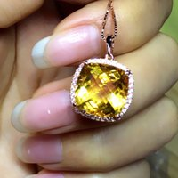 Cheap 2.5 carat large Natural citrine 925 Stering Silver Pendant For Women natural crystal yellow square penant Fine jewelry gold ring