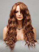 al por mayor peluca rizada rubia espiral-Moda Long Spiral Loose Curls Pelucas rizado Auburn Blonde Mix 3 Tone Moda mujer pelucas