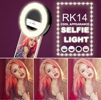 Wholesale Fashion Rechargeable selfie ring light RK Clip LED selfie flash light adjustable lamp selife fill light RK14 with retail box