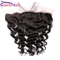 qualité brute achat en gros de-Top Quality Loose Curly Wave Lace Frontal Fermeture Piece Ear To Ear 13x4 Raw Indian Cheveux Humains Full Frontals Silk Closure Bleached Knots