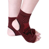 Wholesale 2 Elastic Knitted tourmaline magnetic therapy Ankle Brace Support Band Sports Gym Protects Therapy shoes ankle protector