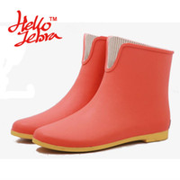 Wholesale Women Rain Boots Mixed Colors Ladies Low Hoof Heels Ankle Boot Height Waterproof Round Toe Rainboots New Fashion Design Three Candy Col