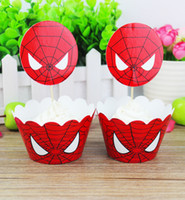 Wholesale l Spiderman Party Paper Cupcake wrappers toppers for kids party Birthday decoration cake cups wraps topper