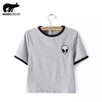 bears shirts women - Summer Fashion Women Aliens T Shirt Harajuku Shirt Kawaii Stripe Short Sleeve Tee Shirt Crop Top Short T Shirt WAIBO BEAR