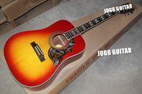 Wholesale Custom Inches Hummingbird Cherry Sunburst Acoustic Electric Guitar Split Parallelogram Fingerboard Inlay Red Turtle Pickguard Top Sale