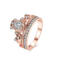 Wholesale 2017 Fashion Plated Rose Gold Ring for Girls An crown zircon Engagement Womens Wedding Rings Size