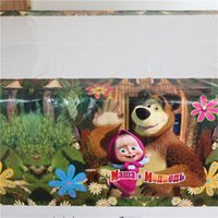 Wholesale masha and bear disposable plastic tablecover cm tablecloth map for kids happy birthday party decoration supplies