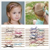 al por mayor niños diy accesorios-Las vendas elásticos de nylon de las vendas del bebé de la manera arquean el color headwear lindo simple KHA87 de los cabritos de los niños del Hairbands del Bowknot de las muchachas DIY