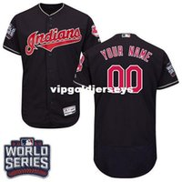 Wholesale Men s Cleveland Indians Customized Grey White Navy Blue World Series Bound Flexbase Collection Baseball Jersey Style Shirts For Sale