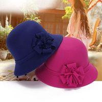 Wholesale Women Vintage Imitation Wool Flower Felt Hat Winter Cloche Bucket Cap Attractive Design