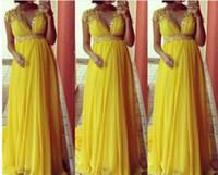 Wholesale Elegant Yellow Cap Sleeve Crystal V Neck High Waist EmpirePlus Size Long Chiffon Evening Dress Gown For Pregnant E13