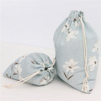 Wholesale France Fashion Drawstring Handbag For Young Girl European American Style Simple Eersonality While Flower Blue bottom Bags Leisure Package