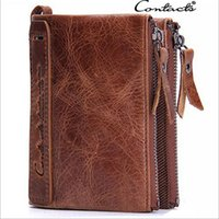 Wholesale New Men s Genuine Leather Wallet Short Brand Design Male Clutch Bifold Man s Purse Solid Black Brown Business Fashion Pocket Card Holder
