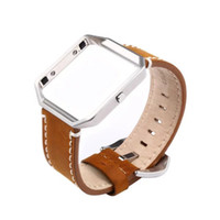 adjustable metal frame - Genuine Leather Watch Band Metal Frame Adjustable Wrist Strap Bracelet Watchbands for Fitbit Blaze Smart Watch with Metal Buckle