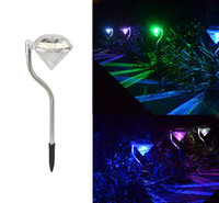 Wholesale Holiday Led Color Changing Solar Diamond Stake Lights Garden Lawn Landscape Pathway Lamps
