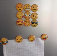 Wholesale QQ Expression Emoji Fridge Magnet Cute Cartoon Fashion Crystal Glass Fridge Magnets Funny Refrigerator Toy