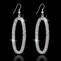 Wholesale 2016 CZ Zircon Oval Dangle Earrings Earrings Brincos Boucle Oreille Silver Crystal Zircon Long Earring For Women Engagnment