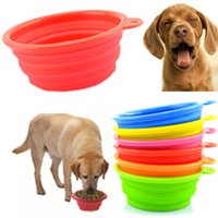 Wholesale Portable Pet Dog Cat Edible Silicone Collapsible Feeding Feed Water Feeders Foldable Travel Food Bowls Home Dish colors Frisbee Outdoors