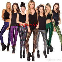Wholesale In business Fish scale Summer style women s Scale leggings color S XL size Simulation mermaid sexy pants Digital print colorful leggings