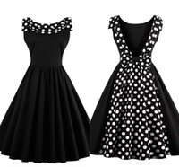 Wholesale 2017 New Vintage Black White Dot Women Dresses S XL Plus Size Sleeveless Backless Knee Length Cheap Women Ladies Summer Gowns FS1111