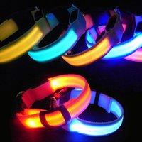 Wholesale LED Nylon Pet Dog Collar Night Safety LED Light Flashing Glow in Dark Small Dog Pet Leash Dog Collar Flashing Safety Collar