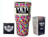Wholesale qqq oz Yeti Rambler Tumblers Mug OZ YETI Coolers Insulation Cup Stainless Steel Bilayer Vacuum Coffee Beer Water Bottle Pink Silver