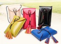 Wholesale NEW Promotion ladies girl Synthetic Leather Tassel small Candy Color Mobie phone Purse Bag Pouch