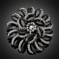 Celtic beautiful vintage clothing - Beautiful Alloy European Style Resin Crystal Brooches Classic Vintage Women Black Brooch For Decorations Invitations Clothes