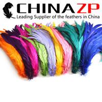 al por mayor tinte blanqueador-CHINAZP Fábrica que exporta 100pcs / lot los 30 ~ 35cm (12 ~ 14inch) de la longitud buena calidad coloreada y teñió las plumas de cola del gallo 10 colores disponibles