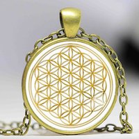 beaded glass necklace lots - 1pcs Fashion Mandala FLOWER OF LIFE gold Classic Round pendant glass cabochon necklace Fine Jewelry