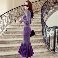 Wholesale The new sparkling ladies temperament sexy slim fitting fishtail skirt sweater sweater suit party stage skirt sweater dress two piece backing