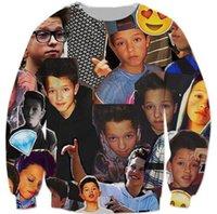 Emojis roupas Preços-Atacado- Emoji 3D Impresso Crewneck Diamante Casuais de manga comprida Hip Hop Jacob Sartorius Moletons Música menino Moletons Sweatshirts