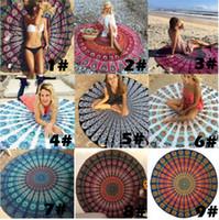 Wholesale Round Mandala Beach Towels Printed Tapestry Hippy Boho Tablecloth Bohemian Beach Towel Serviette Covers Beach Shawl Wrap