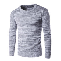 Wholesale New Arrival Men s Sweater Autumn And Winter Long Sleeve Solid O Neck Pullover Men Slim Fit Cotton Gray Warm Sweaters