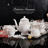 Wholesale European Style Elegant Bone China Tea Coffee Set with Engraving Gilt edged Rose Pattern Inovative Design