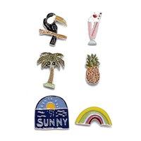 achat en gros de lunettes de soleil de fruits-Mignon Fruit Watermelon Ananas Bougies De Cérémonie Rainbow Jeans Bag Enamel Lapel Pin Broche Set Bijouterie De Mode