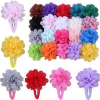 beautiful bb - Children Hair Accessories High Quality cm Chiffon Fabric Flower Hair Clips Girl BB clip Beautiful side Clip colors