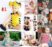 big foxes - INS Baby Bee romper sets Baby Girls fox suspender jumpsuit Big Bows headbands sets kids cotton jumpsuit todder boutique diaper suit