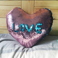 Wholesale Heart Shaped design Sequin Mermaid Pillow Case cover Reversible Sofa Cushion Cover Magic Pillow Covers Cafe Home