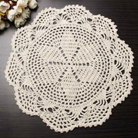 Wholesale Flower Placemat Round Doilies Vintage Beige Crochet Lace Doily Cotton Yarn Handmade For Wedding Home Table Decoration CM