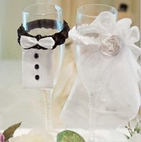 Acheter Arcs décorations mariage-Grossiste-robe de mariée en verre de champagne décorations couvrir mariée voile palefrenier de nœud papillon tissus bricolage décorations de mariage
