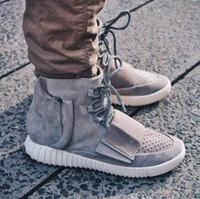 Mode New Boots Hommes Femmes West 750 Boost Black Suede Chaussures Kanye Blackout Light Grey Glow Dans Les Chaussures Avec Dark Box Original