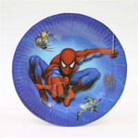 Wholesale Spider Man Party Paper Plates Cake Dishes Happy Birthday Party Supplies Baby Shower Decorations Kids Favors