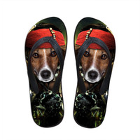 beach for dogs - funny cosplay animals dog print flip flops for mens beach flat flip flops casual rubber beach chinelo male bath slipper fashion